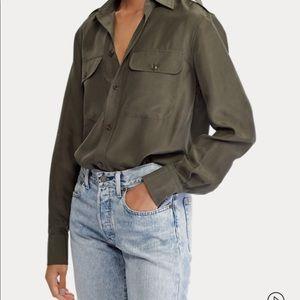 Ralph Lauren | 100% Silk Olive Green Shirt